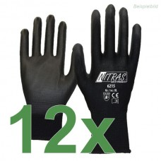 12 Paar NITRAS 6215 Nylonhandschuhe Gr. S schwarz