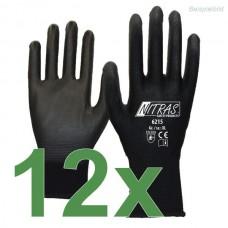 12 Paar NITRAS 6215 Nylonhandschuhe Gr. L schwarz