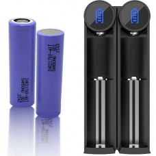2 x Samsung INR21700-40T Li-Ion 4000mAh 35A 3,6-37V Akku + Efest - SLIM K2 Li-Ionen Ladegerät inkl. USB Kabel