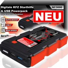 Kraftmax QC3000 KFZ Starthilfe für 12V Autobatterie & USB Powerpack