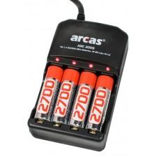 Arcas 4-Kanal-Ladegerät für 1-4 AA/AAA inkl. 4x Mignon 2700mAh