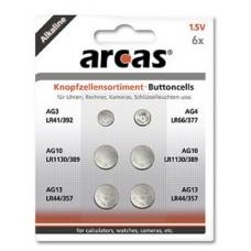 Arcas AG Knopfzellenset 6tlg. (1xAG3,  1xAG4, 2xAG10, 2xAG13)