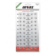 "Arcas AG Alkaline Knopfzellenset 50tlg. (10xAG1, 15xAG3,  10xAG4, 10xAG10), 5 x AG13) ""No Mercury"""