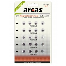 Arcas AG Alkaline Knopfzellenset 20tlg. (4xAG1, 4xAG3, 4xAG4, 4xAG10, 4xAG13)
