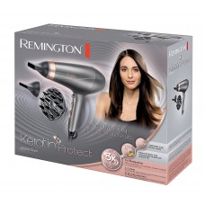 Remington AC8820 Ionen-Haartrockner Keratin Protect, 2200 Watt, Ring angereichert mit Keratin und Mandelöl, zwei Stylingdüsen, Diffusor, grau/rose gold