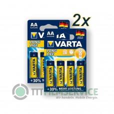 8x Varta Mignon 4106 110 414 Longlife Extra im Blister, AA, LR06