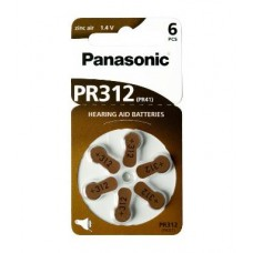 60x Panasonic PR312 (PR41) Hörgeräte-Knopfzellen 170 mAh 1,4V im 6er-Blister