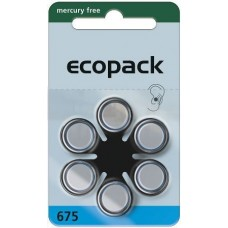 ECO 675 (ZL1/PR44) Hörgeräteknopfzellen Mercury Free 1,45V 620mAh 1 VPE: 60 Stück