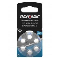 Rayovac 675  HEARING AID BATTERIES (ZL1/PR44) Hörgeräteknopfzellen 1,45V 640mAh in 6er-Blister