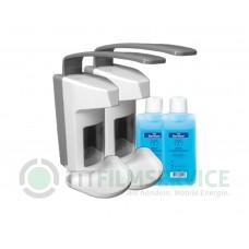 2x Wandspender Basic Line aus Kunststoff mit Edelstahlpumpel inkl. 500m Sterillium