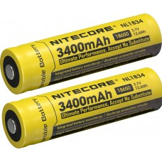 4 x NiteCore NL1834 3400mAh 18650 3,6V - 3,7V - geschützt - erhöhter Pol