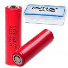 "2x LG HE2 18650HE2 Li-Ion 2500mAh 20A 3,6V LGDBHE21865 inkl. staubdichter und wetterfester Akkubox ""POWER-POND"""