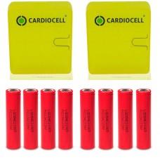 8x LG HE2 18650HE2 Li-Ion 2500mAh 20A 3,6V LGDBHE21865, inkl. Cardiocell Akkubox