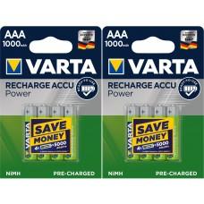8x Varta Micro-Akku 5703 301 404 (1000mAh) 1,2V im 4er Blister