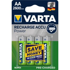 4 x Varta Recharge Accu Power Akku 5716 AA Mignon HR6 Akku 2600mAh 1,2V