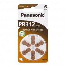 Panasonic PR312 (PR41) Hörgeräte-Knopfzellen 170 mAh 1,4V im 6er-Blister