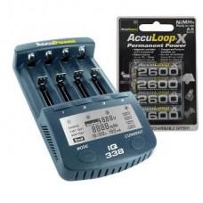 Accu Power IQ338 Ladegerät inkl. 4x AccuLoop AA/Mignon 2600mAh Akkus