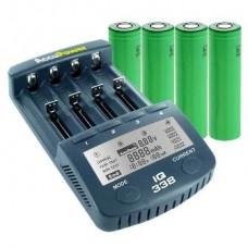 Accu Power IQ338 Ladegerät inkl. 4x Sony US18650VTC5 2600mAh hochstrom Akkus